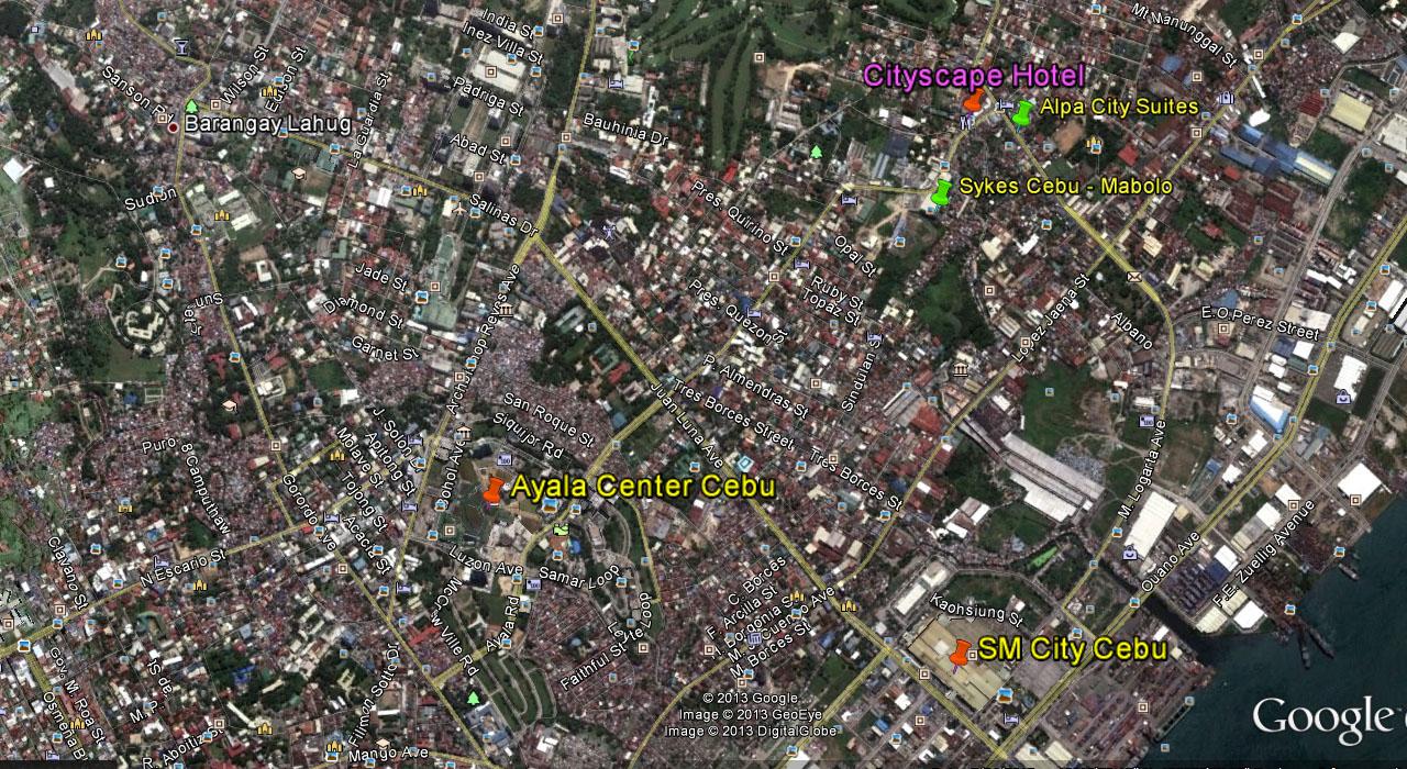 Cityscape Cebu Cebu - Google map via satellite